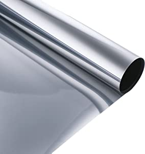 17.5 Inch x 6.5 Feet One Way Window Film,XCMOSA Vinyl Roll Daytime Privacy Anti UV Non-Adhesive Static Cling Reflective Mirror Film Heat Blocking Window Tint for Home and Office,Silver