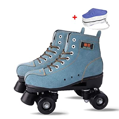 WE&ZHE Skate Gear Soft Classic Faux Leather Roller Skates,Classic High-Top Quad Roller Skate with Bag for Adult & Youth for Indoor and Outdoor,37: Home & Kitchen