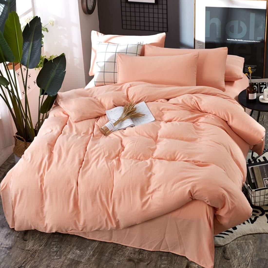 Keriya Sende 4セットのベッド寝具セット 綿 高級 ベッドリネン枕カバー インテリアに適し 掛け布団カバー 洗える 抗菌 防臭 寝具カバーセット (色 : オレンジ, サイズ : 200*230CM) B07T621CY8