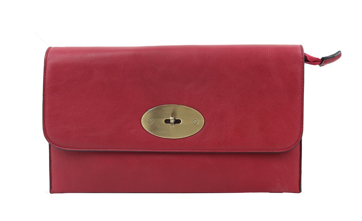 Craze London Womens Faux Leather Envelope Clutch Bag with Long Shoulder Strap with Twist Lock