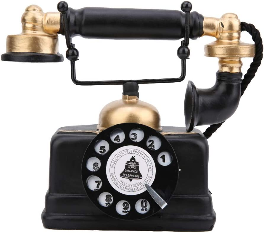 Antique Decorative Telephone, Corded Wired Vintage Telephone Classic Retro Landline Telephone Decorative Rotary Dial with Hanging Headset for Home/Hotel/Office/Coffee Shops Decor.