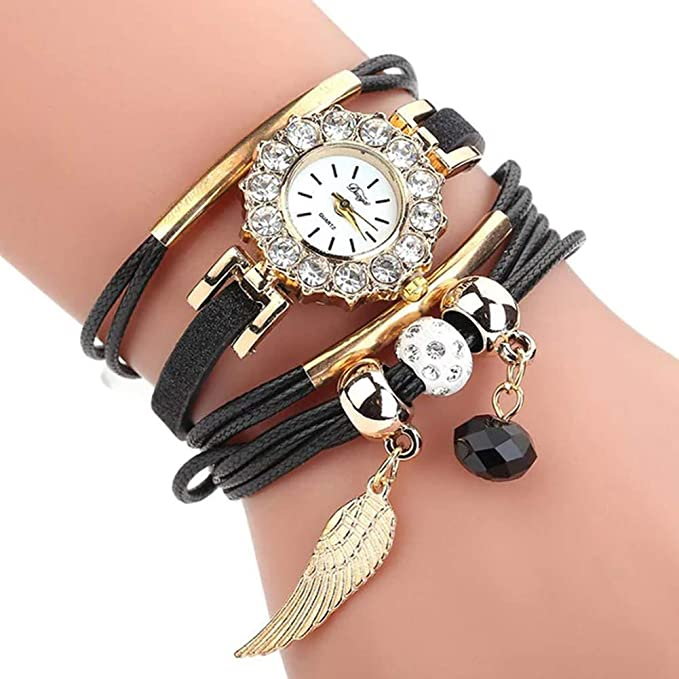 Amazon.com: Women Luxury Angel Wing Bracelet Quartz Bling Wristwatch Rhinestone Clock Ladies Dress Gift Watches ~ Reloj de Mujer de Moda (Black/Negro): Cell ...