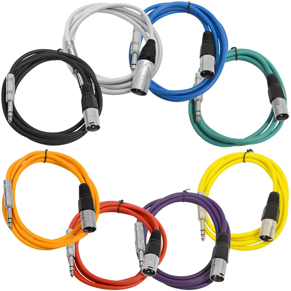 Seismic Audio - SATRXL-M6-Multi - 8 Pack of 6 Foot Multi-Color XLR Male to 1/4 Inch TRS Patch Cables 6' Pro Audio Balanced XLR-M to 1/4'' Patch Cords DJ