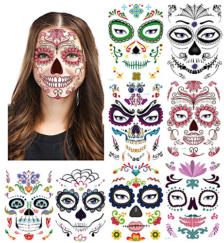Skull Faces For Halloween - 8Pack Halloween Temporary Face Tattoos, Sheets