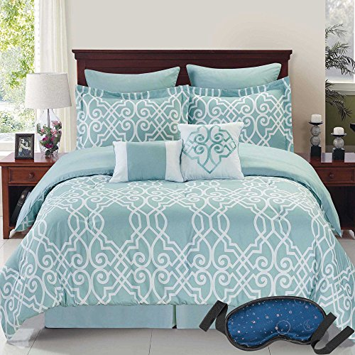 Modern Elegant Reversible Bedding Solid Geometric Sea Foam Embroidered Design Blue Comforter Set, KING (9 Piece Bed in a Bag) with Sleep Mask (Bedroom Sets Discount)