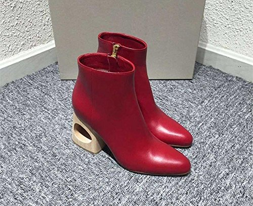 NVXIE Women's Short Boots Pointed Toe Mid Rough Shaped Heel Genuine Leather Black Red Fall Winter RED-EUR42UK85 2lIa3k