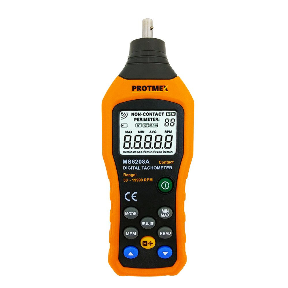 MS6208A Contact Digital Tachometer 50-19999 RPM Hand-held Speed Meter 5 Kinds of Speed Unit and Accessories 100 Groups Data Logging Data Hold, Max/Min/AVG, Backlight