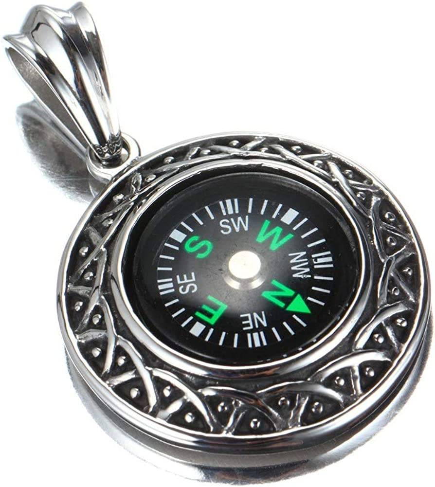 Wyanger Stainless Steel Jewelry Mens Necklace Titanium Steel Compass Pendant