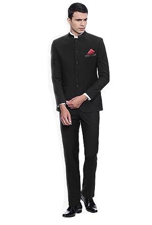 Dressvip 2018 Moderne Costume Homme Mariage Cérémonie Col Fermé Couleur  Unie Noir 2 Pièces Veste Pantalons