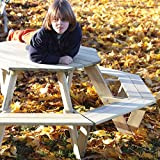 Children's Picnic Table Octagonal Junior Kids outdoor garden wooden Bench Set - fsc 100%