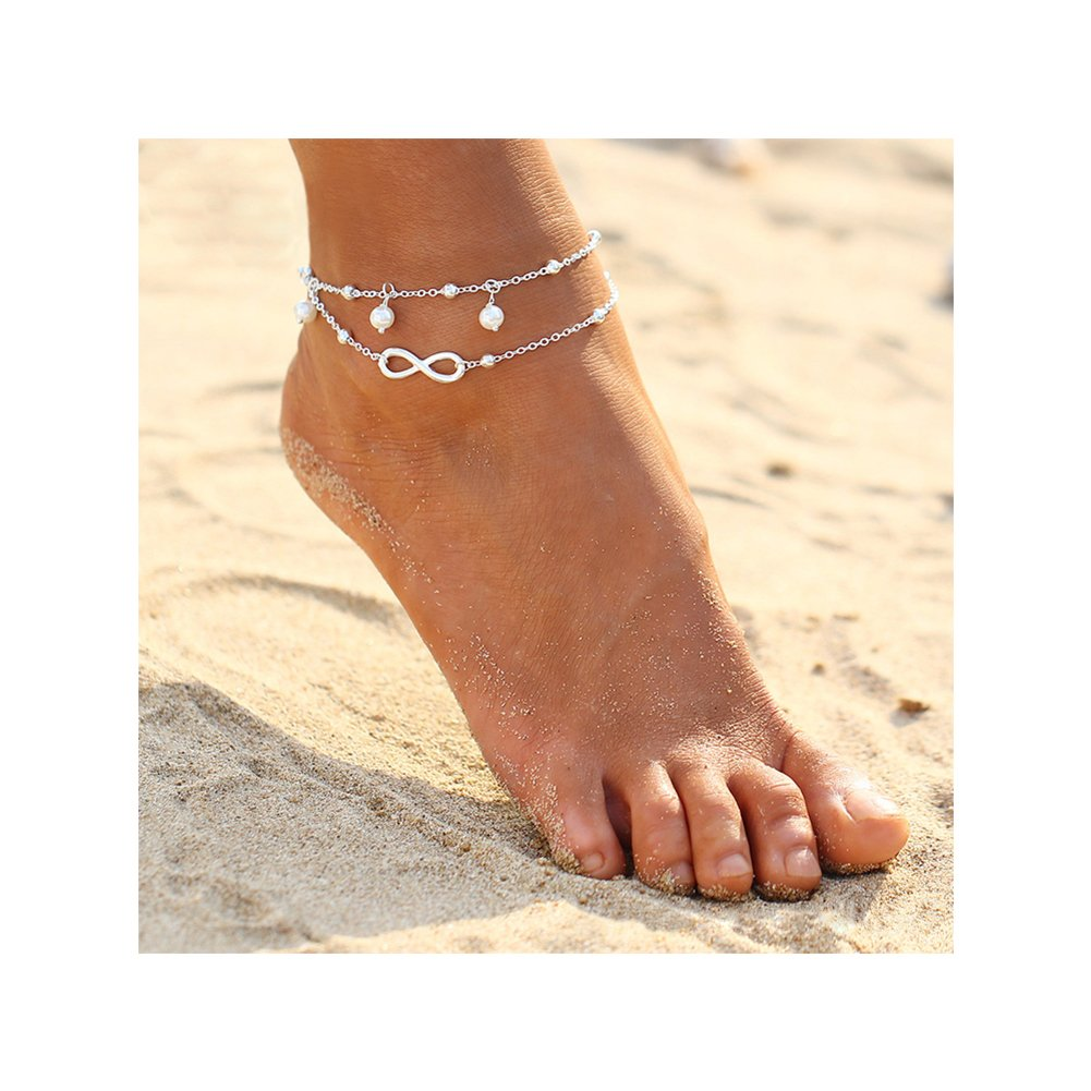 21f3673c4be Amazon.com  ZEALMER 2pcs Pack Boho Vintage Beads Tassel Anklet Retro Style  Beads Flower Ankle Foot Chain Jewelry (Infinity Anklet)  Jewelry