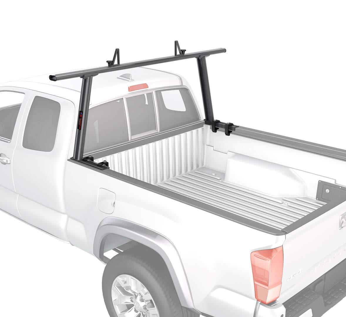 AA-Racks Model APX25-A-E Aluminum Semi Pickup Truck Ladder Rack w//Cantilever Extension Sandy White