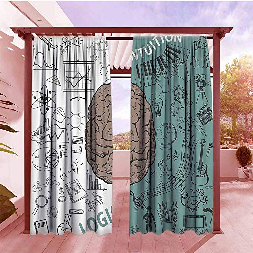 (Sliding Door Curtain Modern Decor Brain Image with Left and Right Side Music Logic Art Side Science Print Blackout Draperies for Bedroom W84x72L White Teal Umber)