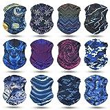 YouGa Headwear Headbands 6PCS Multifunctional Bandana Wide Seamless Magic Scarf Tube Mask UV Insect Shield Sport Men Women Unisex (Blue Mixed)