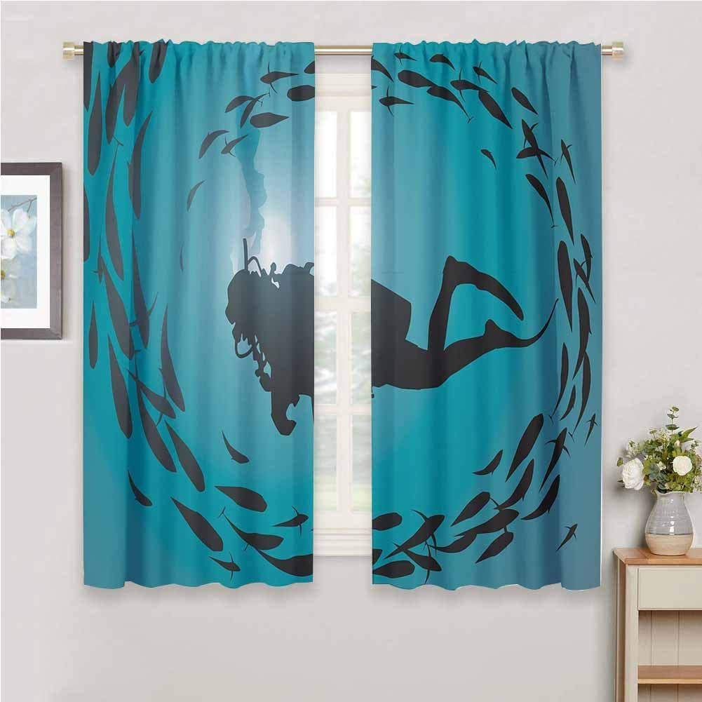 Under The Sea Rod Pocket Curtain Panels For Bedroom Blackout Curtains For The Living Room W63x72l Diver Surrounded With Jamb Of Fishes Scuba Snorkel Aqualung Water Sports Dark Blue Aqua Amazon Ca Home