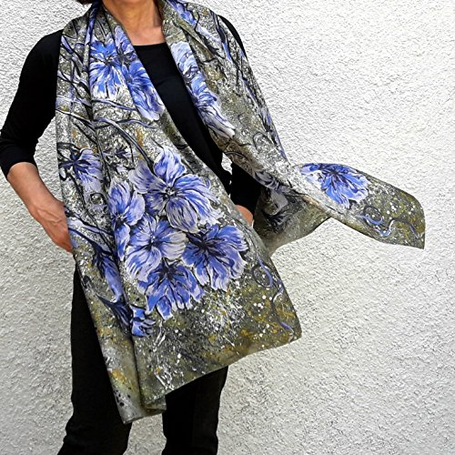 Green Silk Scarf Hand Painted Long Shawl Boho Style Fashion Summer Lightweight Large Wrap Designer Printed Blue Flowers Women Birthday Mother Gift