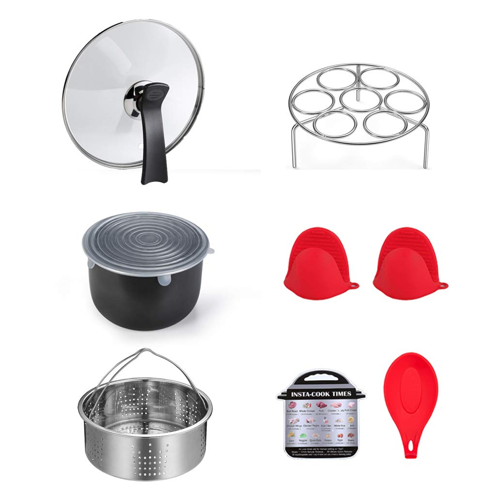 ULEE 7-Piece Accessories Compatible with Instant Pot 3 Qt - Including Steamer Basket, Tempered Glass Lid, Silicone Stretch Lid, Egg Rack, Oven Mitts, Magnetic Cheat Sheet and Spoon Rest