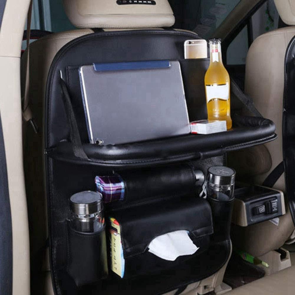 Car Seat Organizer - Multi-Purpose Leather Backseat Organizer PU Leather Storage Organizer Tray Pouch 2pcs Black by Delaman (Image #2)