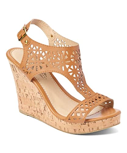 8e1f8e8a3 Amazon.com | Charles Albert Women's Peek-A-Boo Cork Wedge Boho-Chic Platform  Sandal in Tan Size: 10 | Sandals