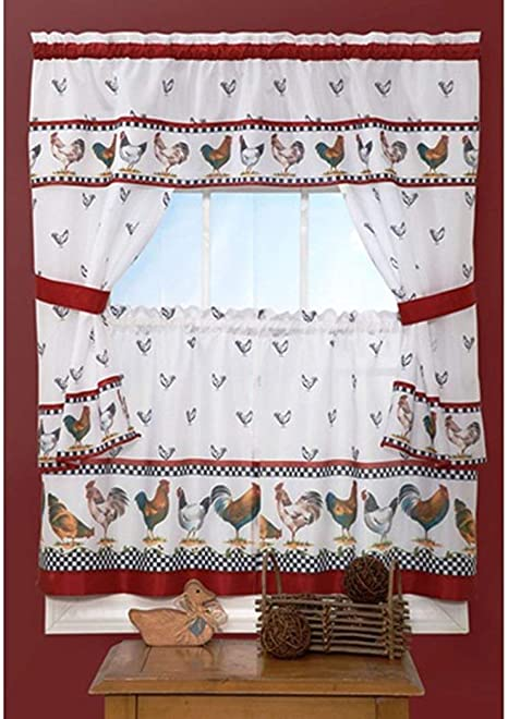 Amazon Com Osd Black 3pc Red White Rooster Kitchen Tiers Valance Set 57x36 Polyester Lodge Cottage Window Treatment Morning Country Themed Traditional Rustic Dark Color Chicken Curtains Log Cabin Home