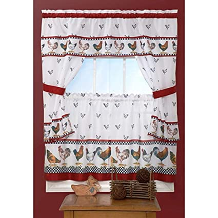 Amazon Com Osd 3pc Red White Rooster Kitchen Tiers Valance Set