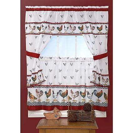 3 Piece Red White Rooster Kitchen Tiers Valance Set 57x36 Inch, Dark Red  Color Chicken Kitchen Curtains Log Cabin, Lodge Cottage Window Treatment ...