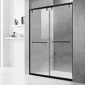 Puerta de ducha corredera con marco negro de 48 x 72 pulgadas, vidrio templado transparente de 3/8 pulgadas: Amazon.es: Bricolaje y herramientas
