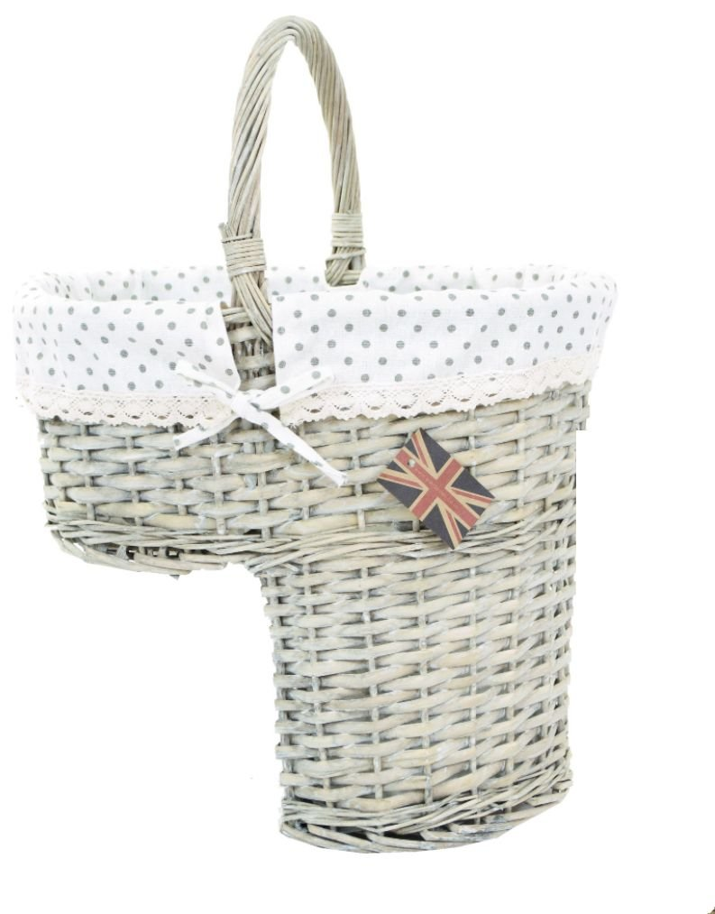 east2eden Wicker Stair Step Storage Basket with Carry Handle & Liner Choice Of Colours (Driftwood Wicker & Polka Dot Liner) e2e