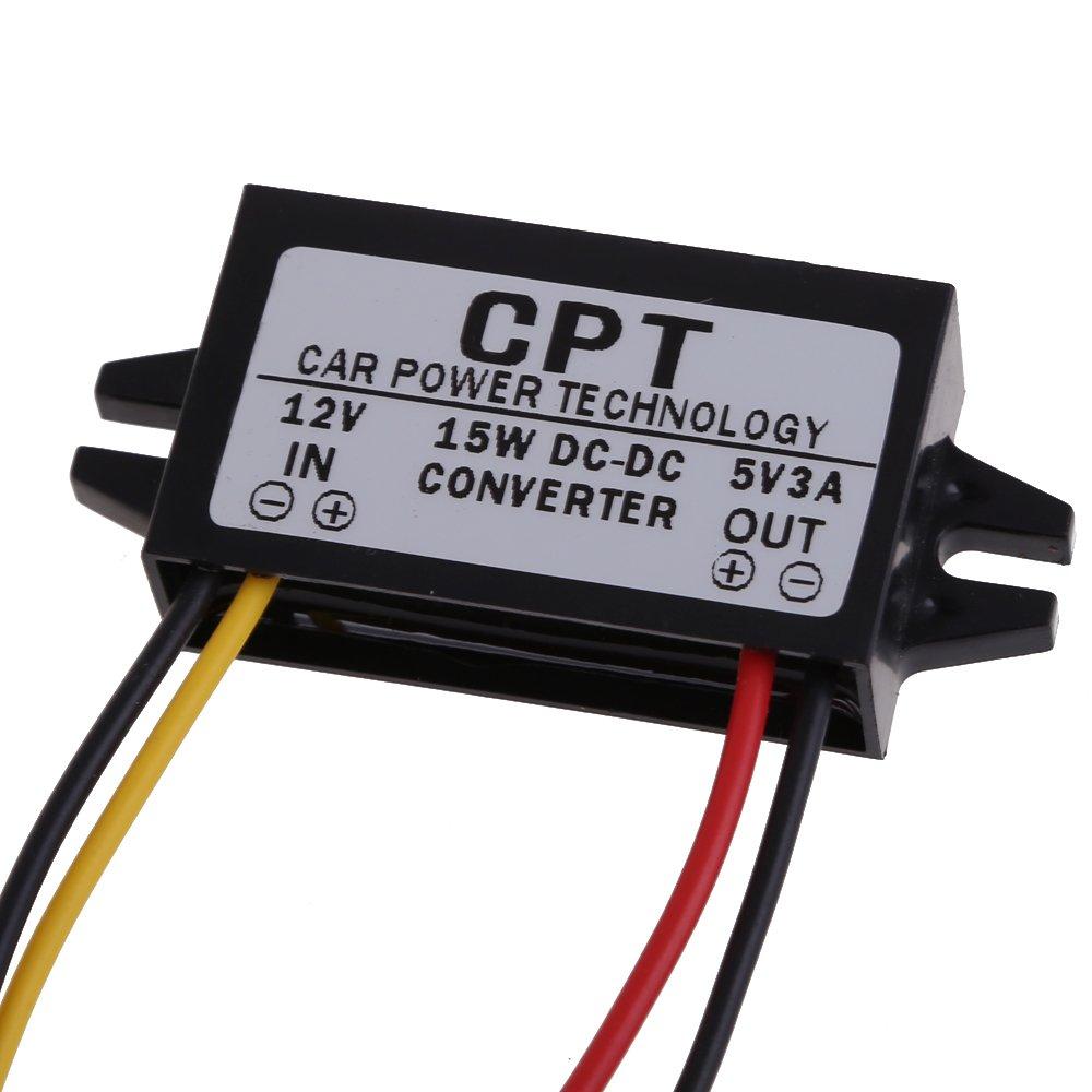 Everpert Car Power Converter DC to DC Converter Regulator 12V to 5V 3A 15W Car Led Display Power Supply