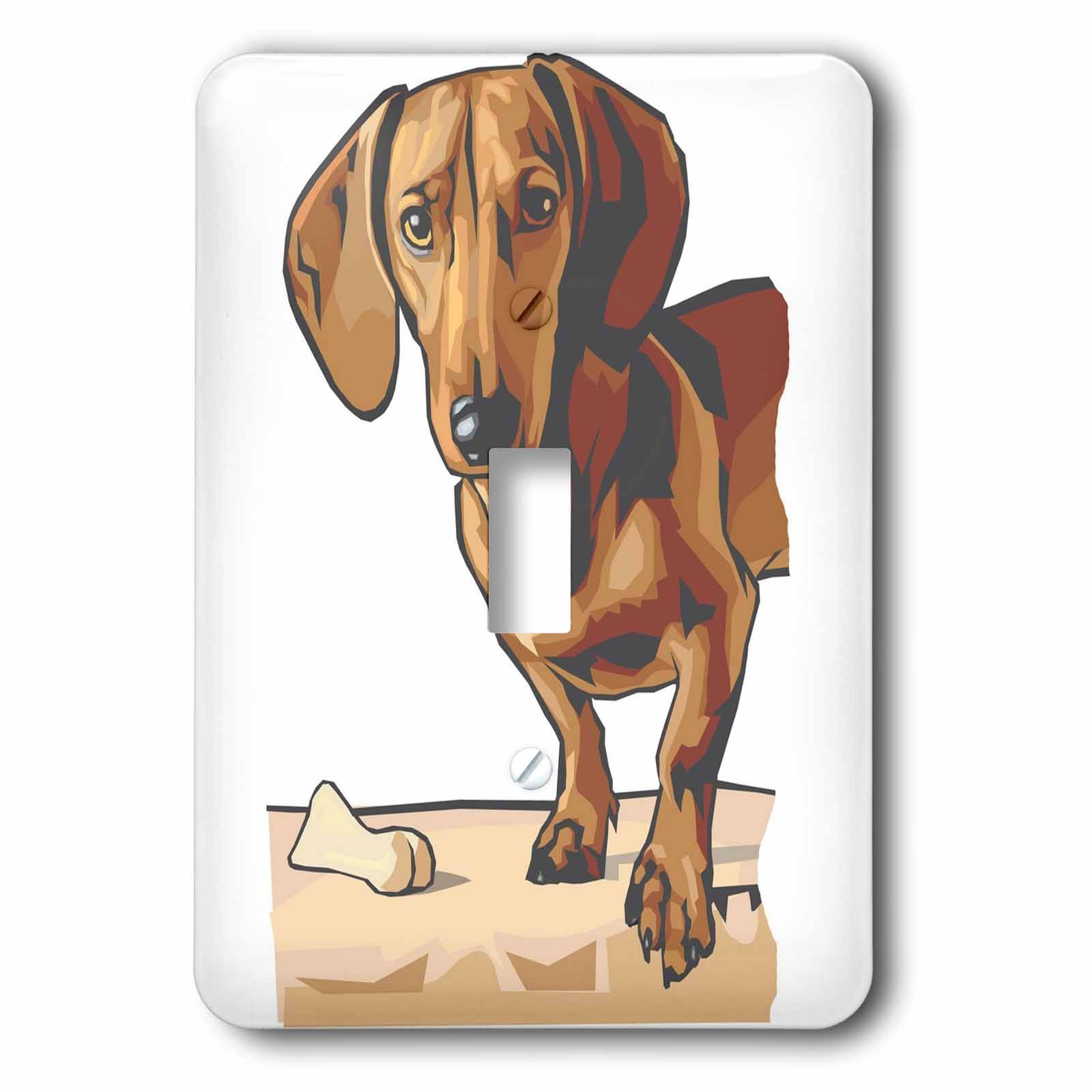 3dRose lsp_129125_1 Cute and Cuddly Canine Standing Dachshund Light Switch Cover