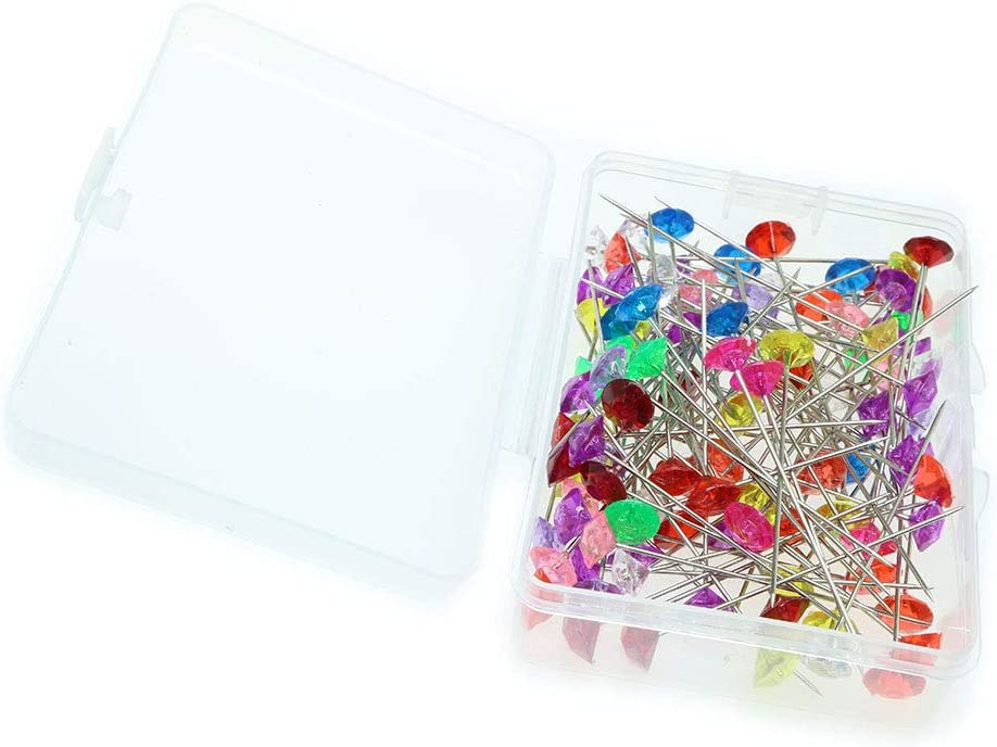 100pcs Batino 1-Box Crystal Flower Bouquet Pins Diamond Head Pins Mixed Color for DIY Wedding Decoration Corsages Pins