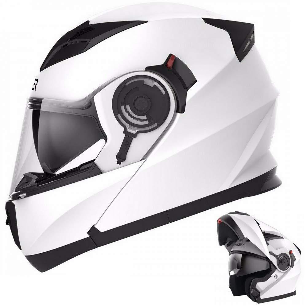 CRUIZER - Casco per moto omologato modulare bianco lucido, con doppia visiera e prese d'aria sulla calotta e mentoliera (M) con doppia visiera e prese d' aria sulla calotta e mentoliera (M) 925 BIANCO