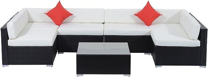 Outsunny 7 Piece Outdoor Wicker Patio Sofa Set Modern Rattan Conversation Furniture Set With Cushions Pillows And Tea Table Cream White Garden Outdoor Amazon Com