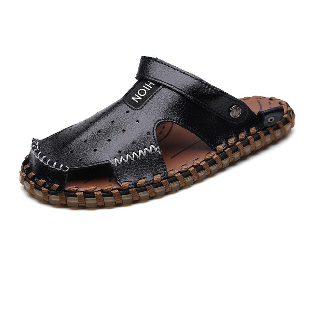 Zapatillas de Hombre de Cuero Genuino Zapatillas de Playa Transpirable Perforación Sandalias Casuales Antideslizante Suave Plano Ajustable sin Respaldo 42 EU Negro