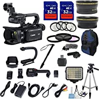 Canon XA11 Compact Full HD ENG Camcorder with HDMI and Composite Output with .43x Wide Angle Lens + 2.2x Telephoto + LED Light + Tripod + 2pcs 32GB High Speed Memory Cards + 22pc Accessory Kit