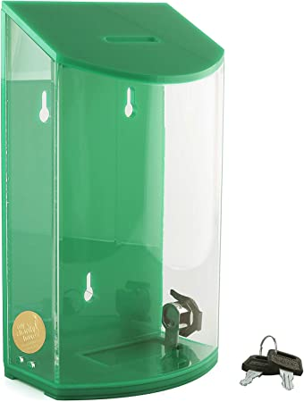 Green MCB Acrylic Charity Donation box,Tip Container,with lock /& 2 keys