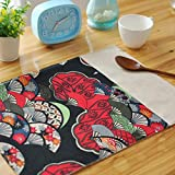 Sundlight 6pcs/Set Creative Placemats Print Floral Table Cloth Napkin Modern Table Mats in Japanese Style 40cmx30cm/15.75''x11.81'' Red