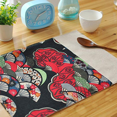 Sundlight 6pcs/Set Creative Placemats Print Floral Table Cloth Napkin Modern Table Mats in Japanese Style 40cmx30cm/15.75''x11.81'' Red by Sundlight