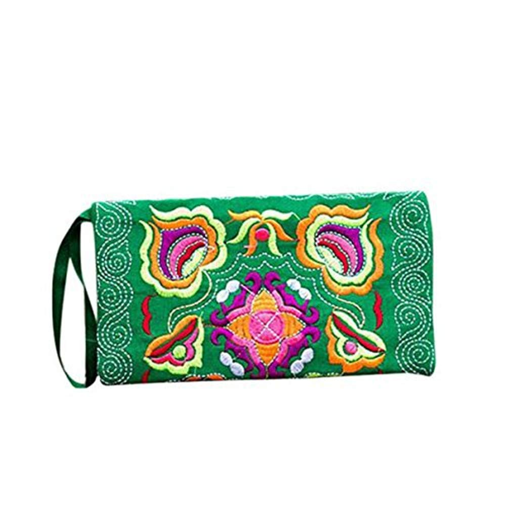 Wobuoke Women Ethnic Handmade Embroidered Wristlet Clutch Bag Vintage Purse Wallet Clearance (Green)
