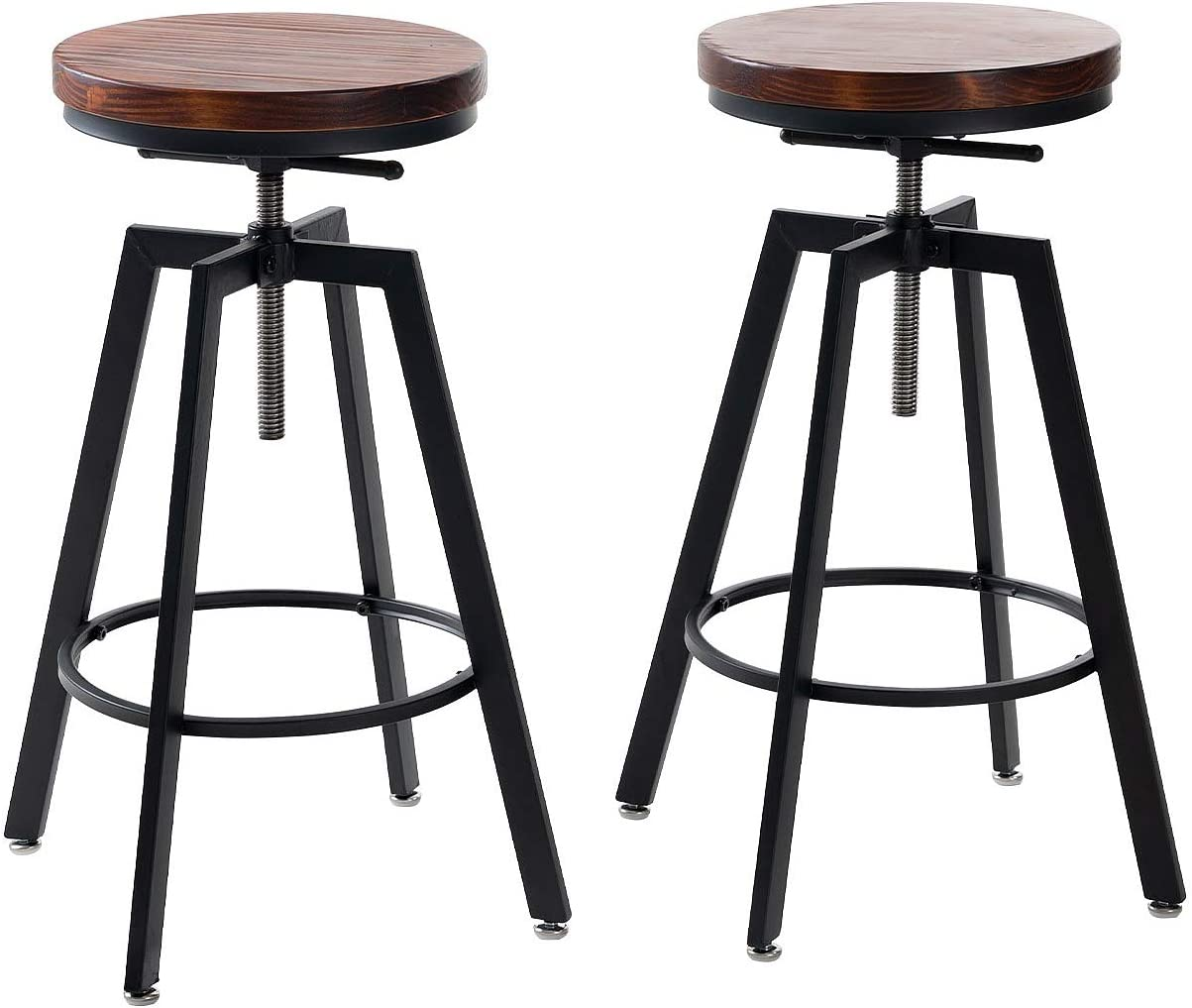 Adjustable Bar Stools for Kitchen Counter,Rustic Counter Height Bar Stools  Set of 10 - Natural Wood Seat - Rustic Brown (10)