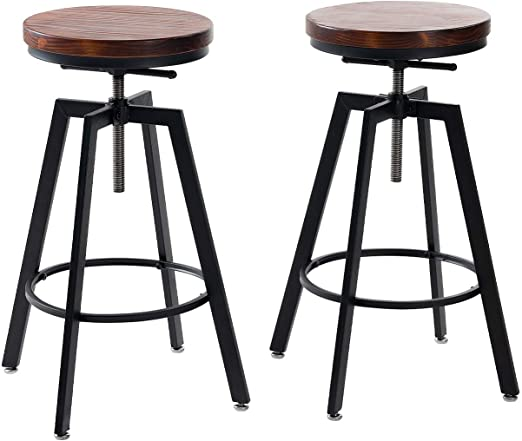 Amazon Com Joelgium Adjustable Bar Stools For Kitchen Counter Rustic Counter Height Bar Stools Set Of 2 Natural Wood Seat Rustic Brown Brown Furniture Decor