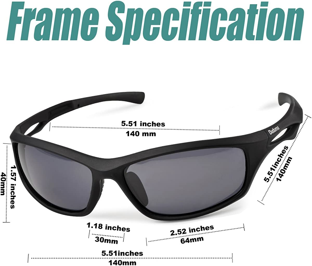 Duduma Polarized Sports Sunglasses for Running Cycling Fishing Golf Tr90 Unbreakable Frame (Black Matte Frame with Black Lens): Clothing
