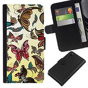 KingStore / Leather Etui en cuir / Sony Xperia Z3 D6603 / Mariposas Insectos Fondos de Arte colorido Arte
