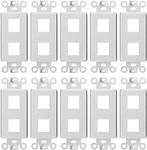 Cmple - 2 Port Decora Wall Plate 1-Gang Keystone Decora Insert, Jack Single Gang Decora Wall Plate – (10 Pack)