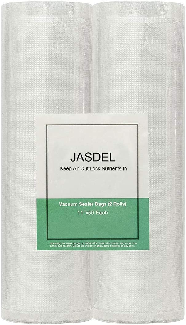 Jasdel - High Quality Vacuum Sealer Bags, Seal A Meal Bags, Food Saver Bags Rolls, Great For Food Storage, 8 x 16 Rolls 2 Pack