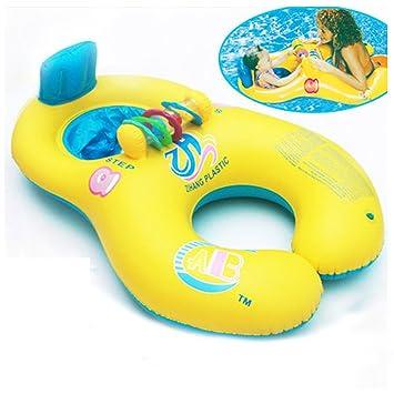 Anillo de natación, huhua bebé niños madre inflable flotador piscina flotador agua asiento silla coche Flamingo barco I Fun, color amarillo, tamaño Small: ...