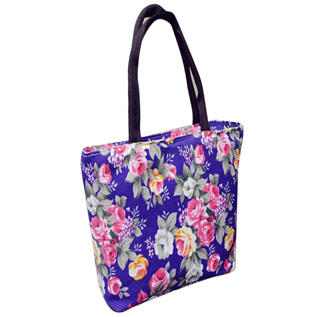 SFE Womens Girls Fashion Floral Print Canvas Shopping Handbag Shoulder Tote Shopper Bag (Purple)