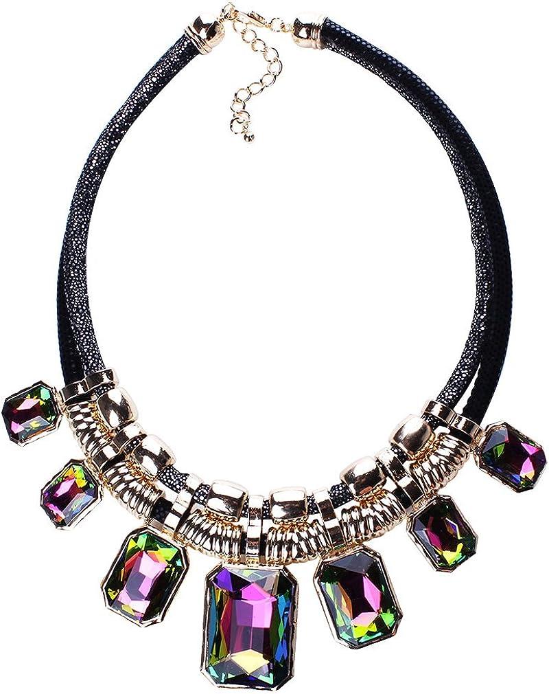 New Charm Crystal Chunky Statement Bib Pendant Chain Choker Necklace
