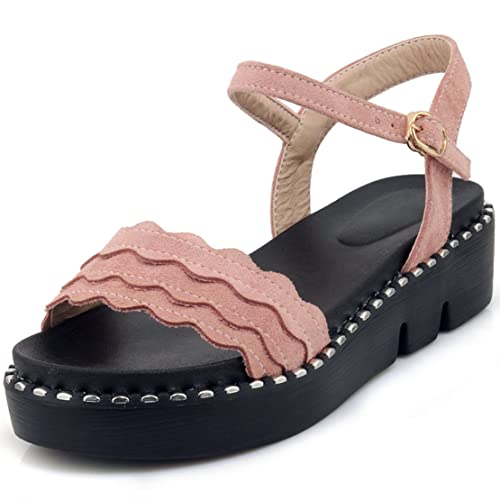 AIYOUMEI Frauen Offene Flache Plateau Sandalen Damen Keilabsatz Sandaletten  mit Riemchen 33e53ff512