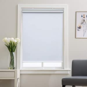 """Roller Shade Blackout Shades Window Blinds for Bedroom, Black Out 99% Light & UV, Thermal, Cordless and Easy to Pull Down & Up, White, 23"""" W x 72"""" H"""